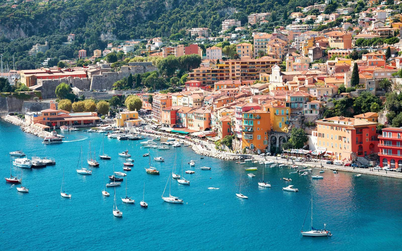 View of luxury resort and bay of Cote d'Azur in France