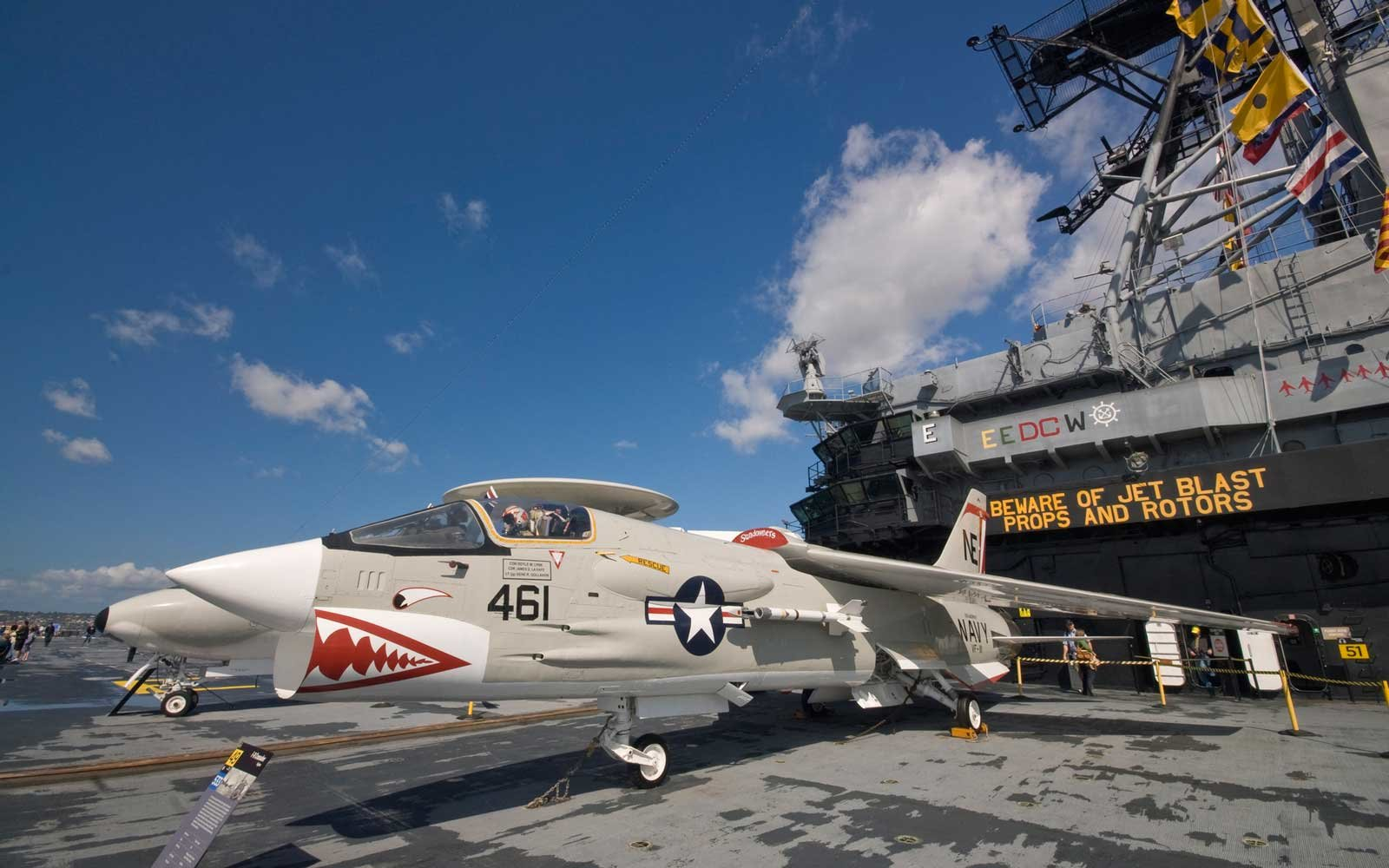 F-8 Crusader airplane on flight deck of USS Midway, aircraft carrier museum ship.
