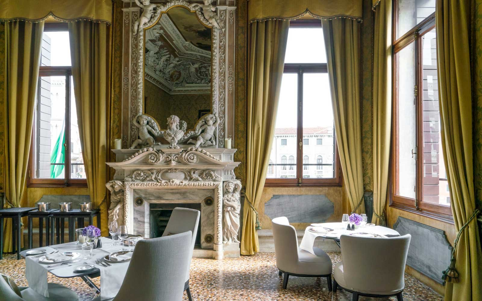 view from the yellow dining room at the Aman Venice