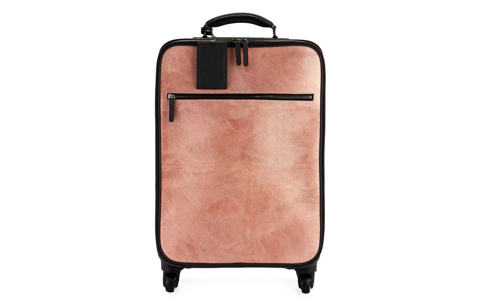 Brunello Cucinelli Glitter Leather and Monili Trolley Bag in gray/pink