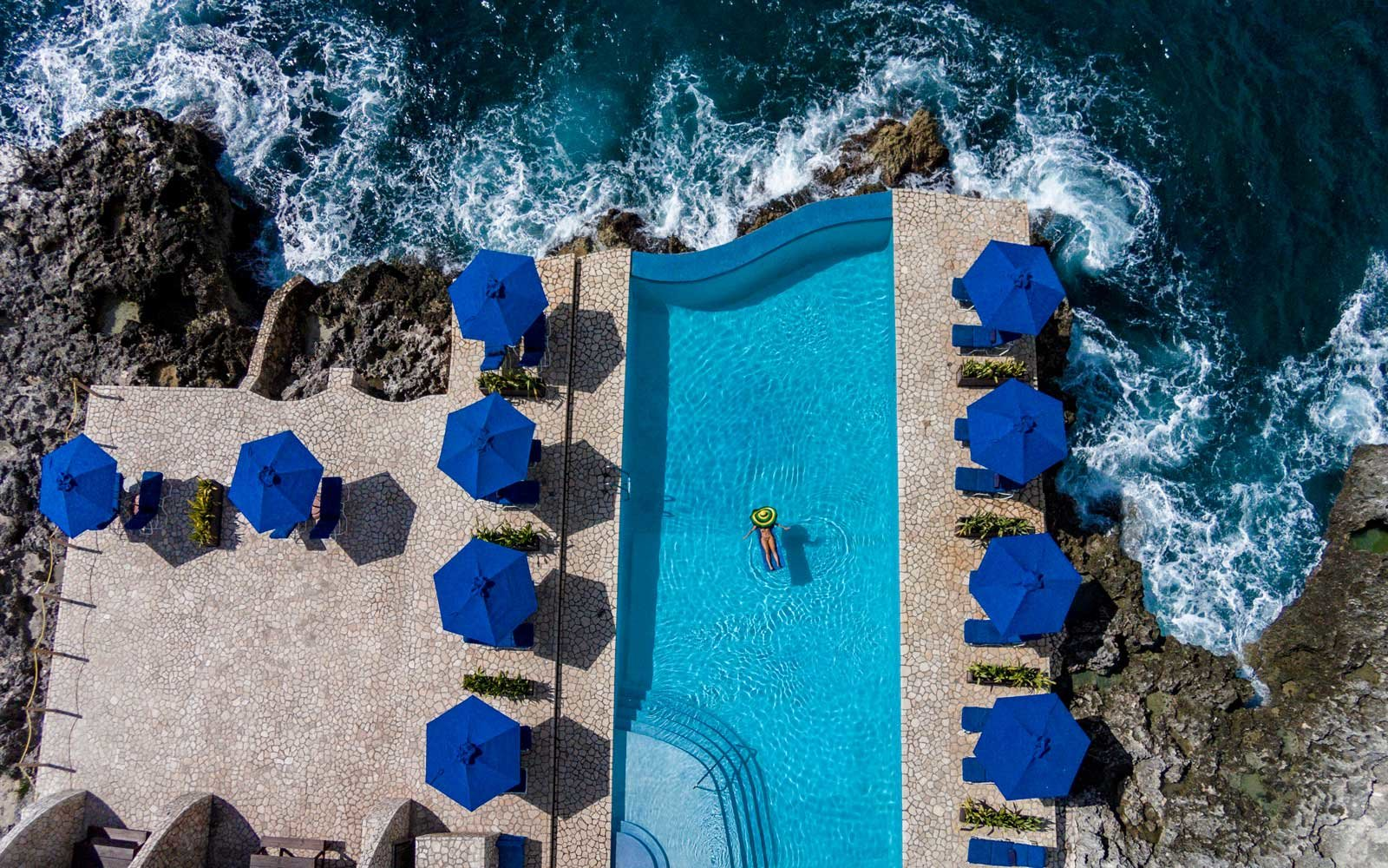 Bird's eye view of the pool at Jamaica's Rockhouse hotel