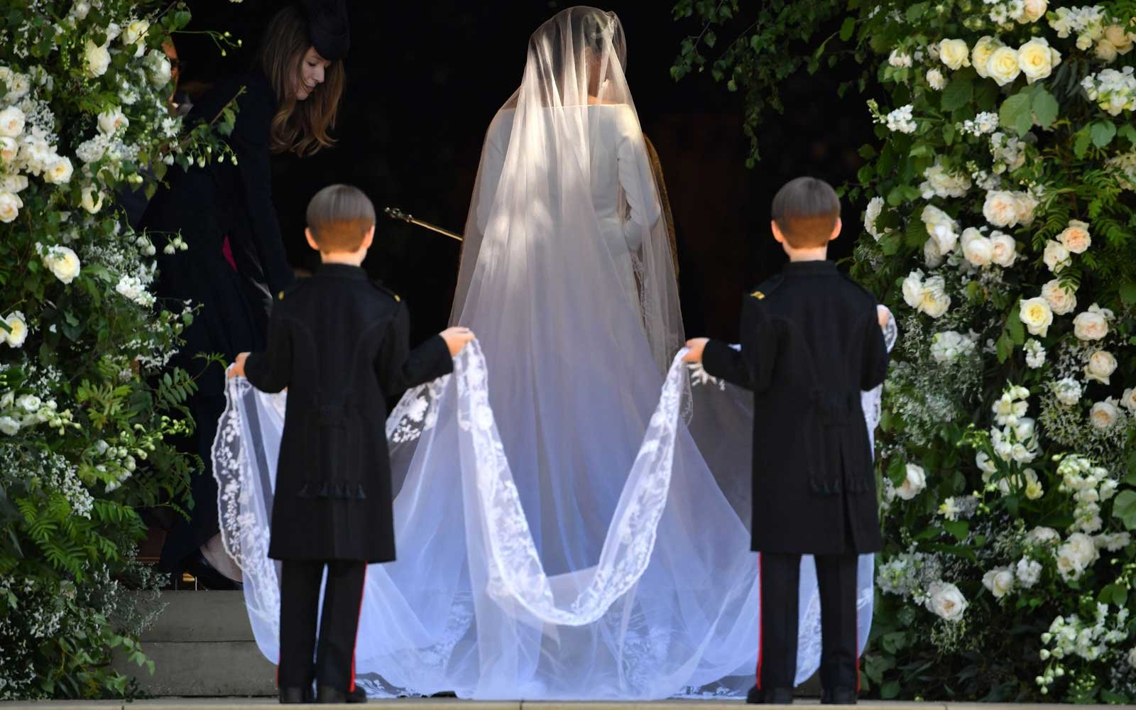US actress Meghan Markle arrives for the wedding ceremony to marry Britain's Prince Harry, Duke of Sussex, at St George's Chapel, Windsor Castle, in Windsor, on May 19, 2018.