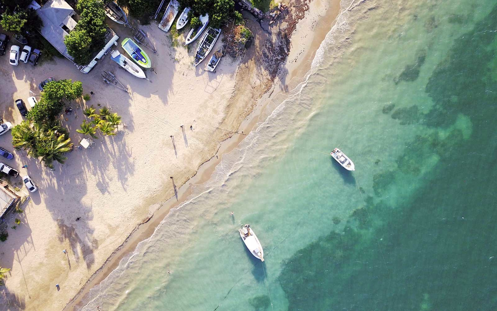 Drone image of a public beach in northern Jamaica