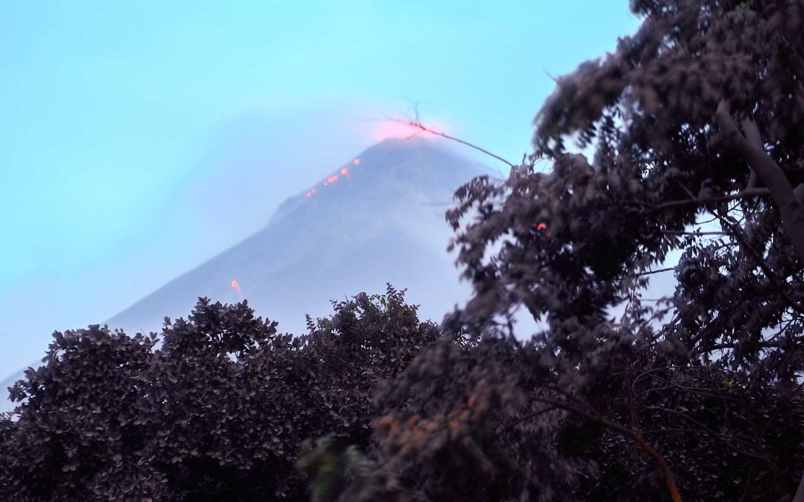 The Fuego Volcano in eruption, seen from Los Lotes, Rodeo, in Escuintla about 35km south of Guatemala City, on June 4, 2018.