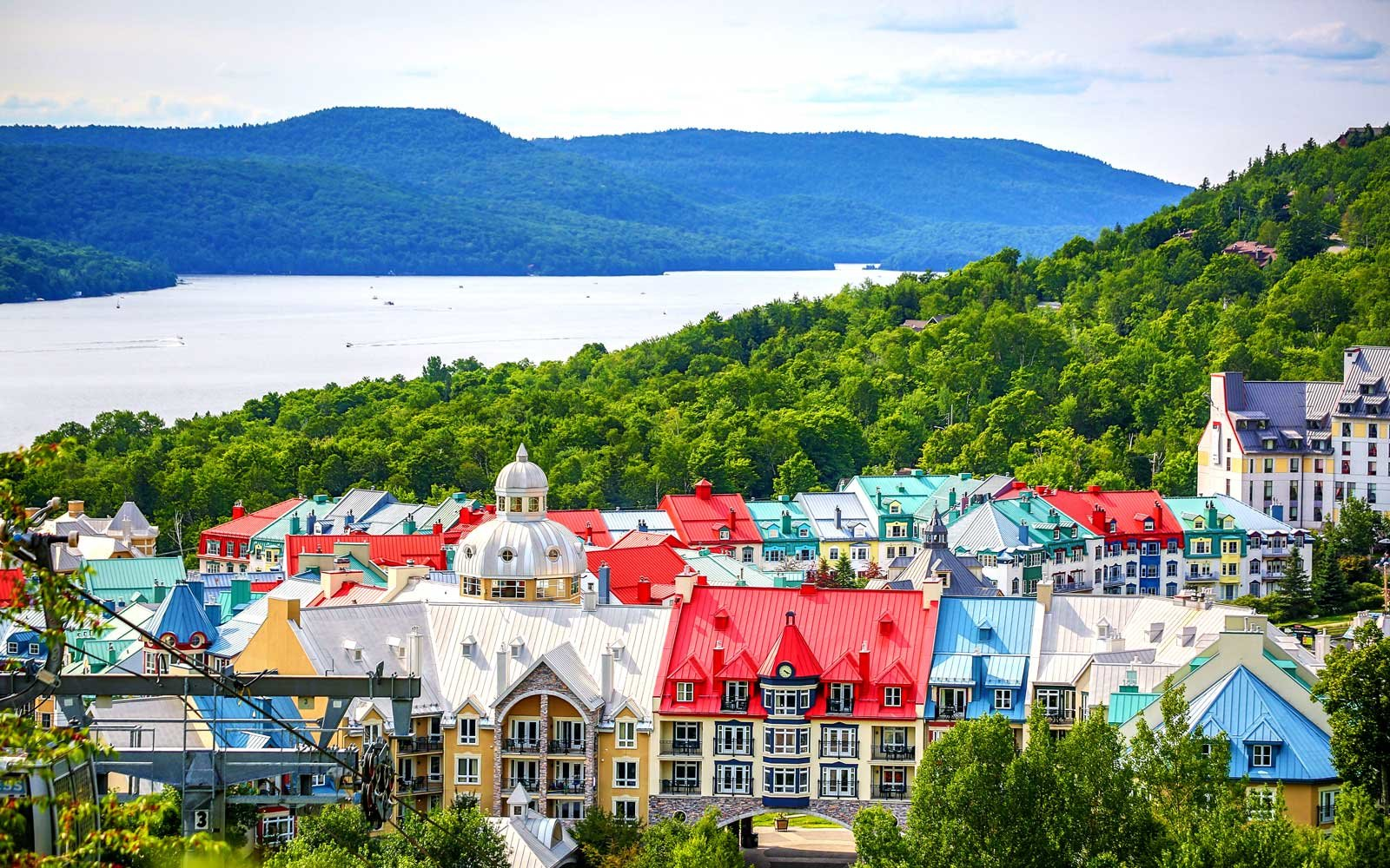 Beautiful Mont tremblant village, lake and mountains in Quebec, Canada