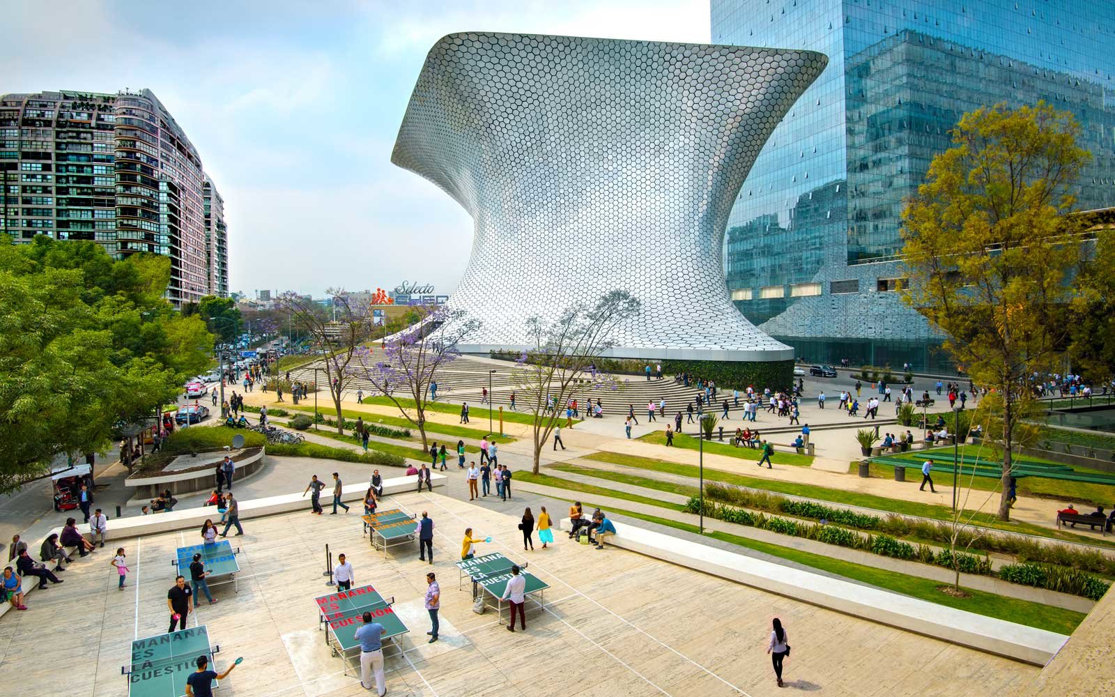 The aluminium paneled Soumaya Musuem stands in Plaza Carso in the Polanco district of Mexico City.
