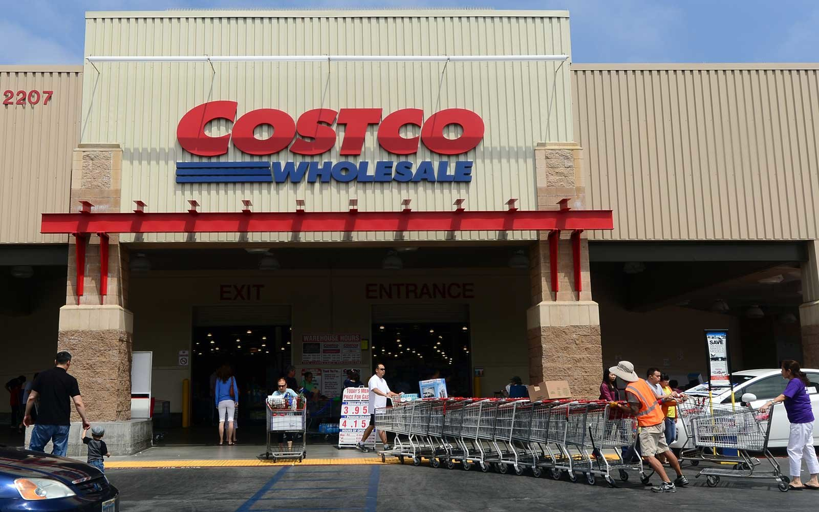 Shopping carts are collected outside a Costco store in Alhambra, California