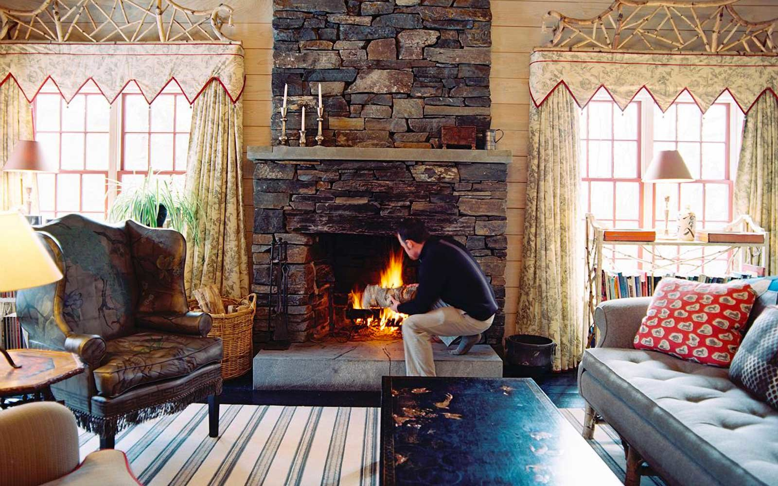 Fireplace at Twin Farms, in Vermont