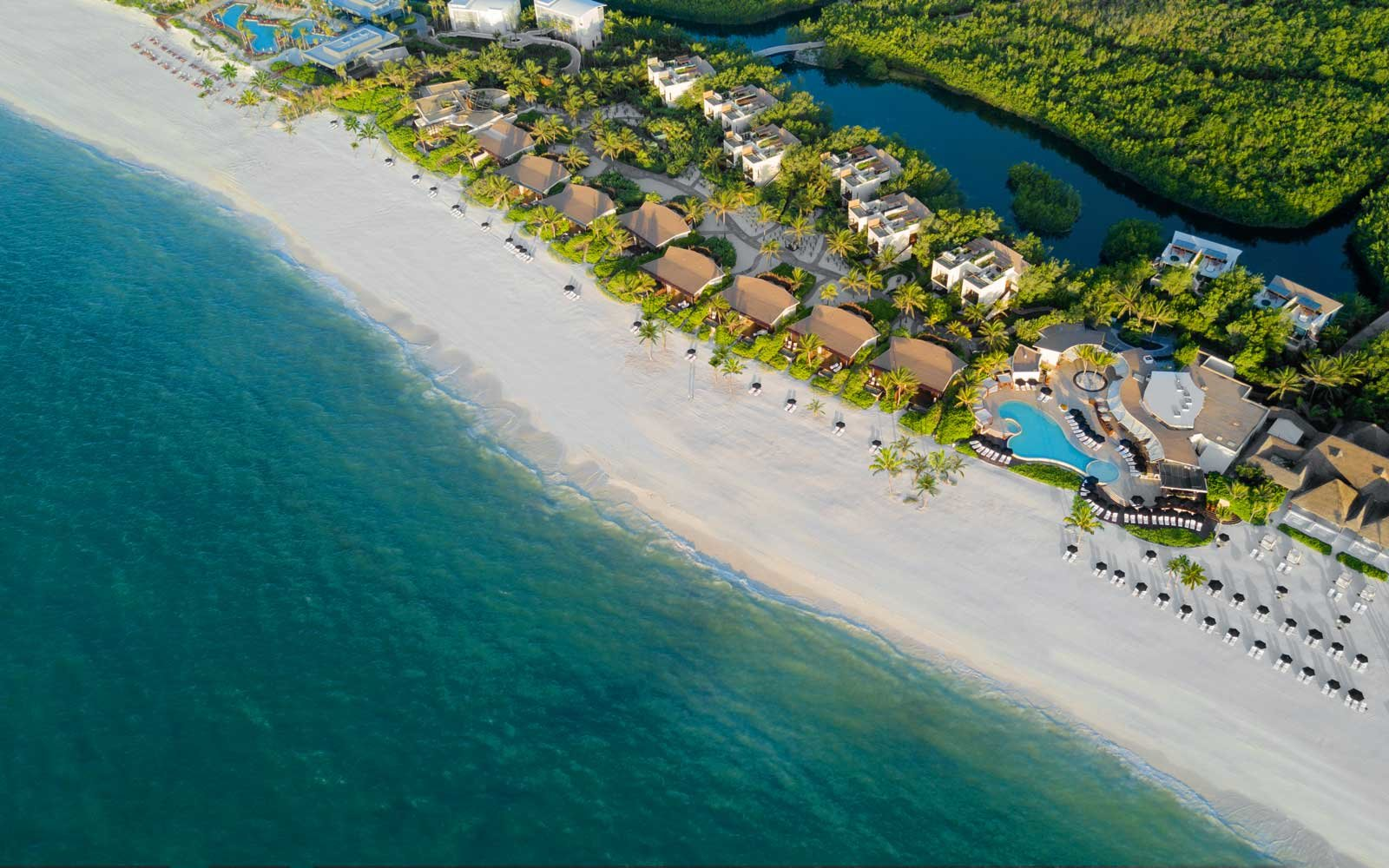 Aerial vie of the Rosewood Mayakoba, in Mexico
