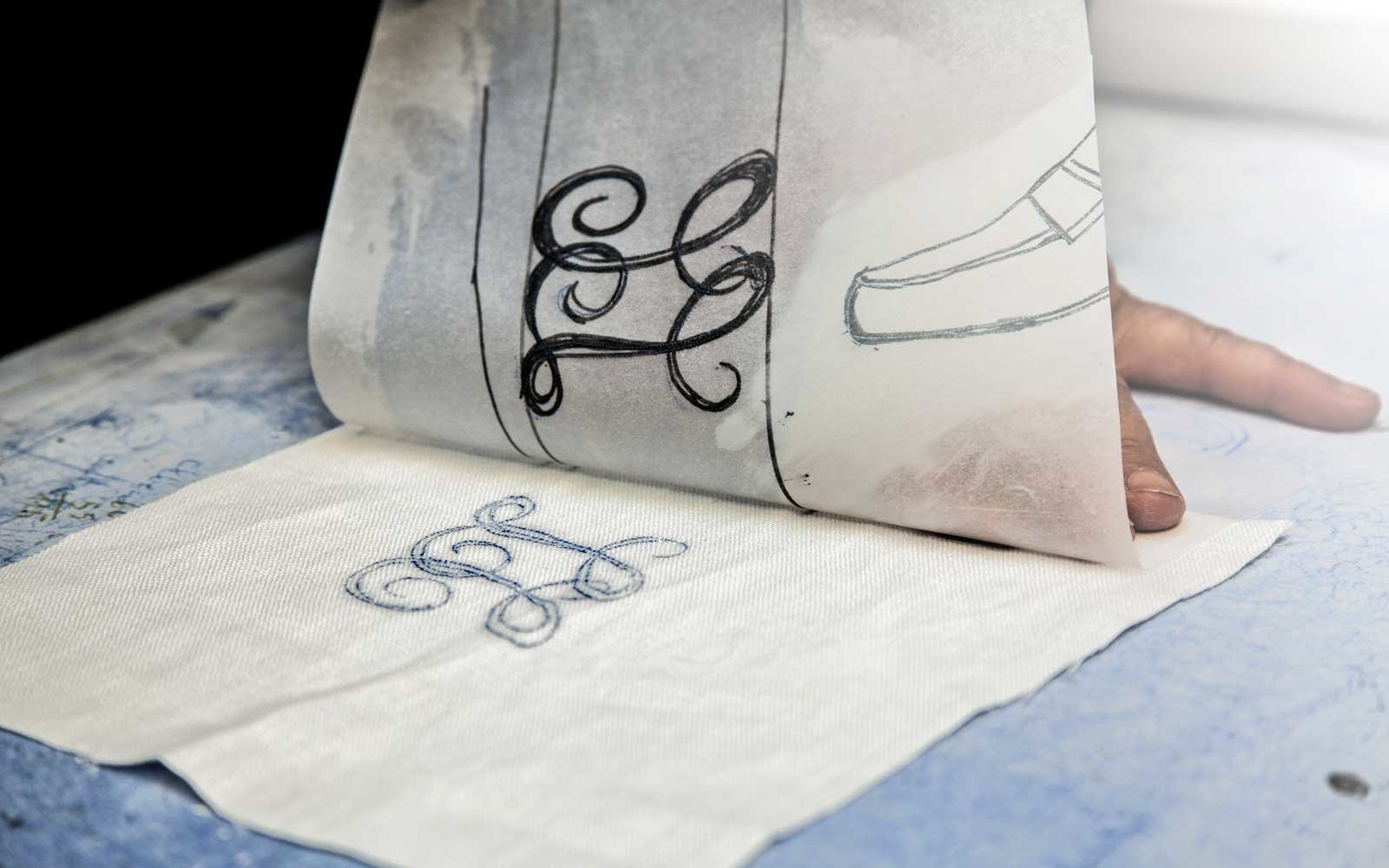 Hand-embroidered linens at Loretta Caponi in Florence, Italy