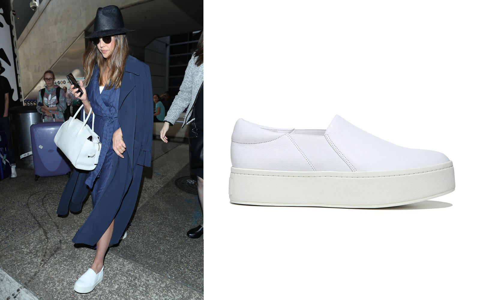 Jessica Alba in Vince Slip-on Sneakers