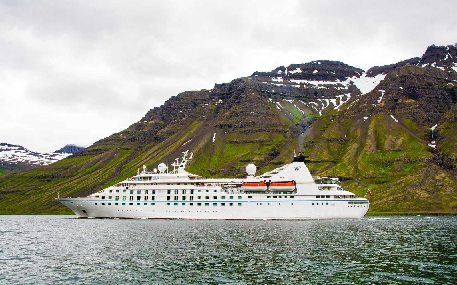 Windstar Star Legend cruise ship in Seydisfjordur, Iceland