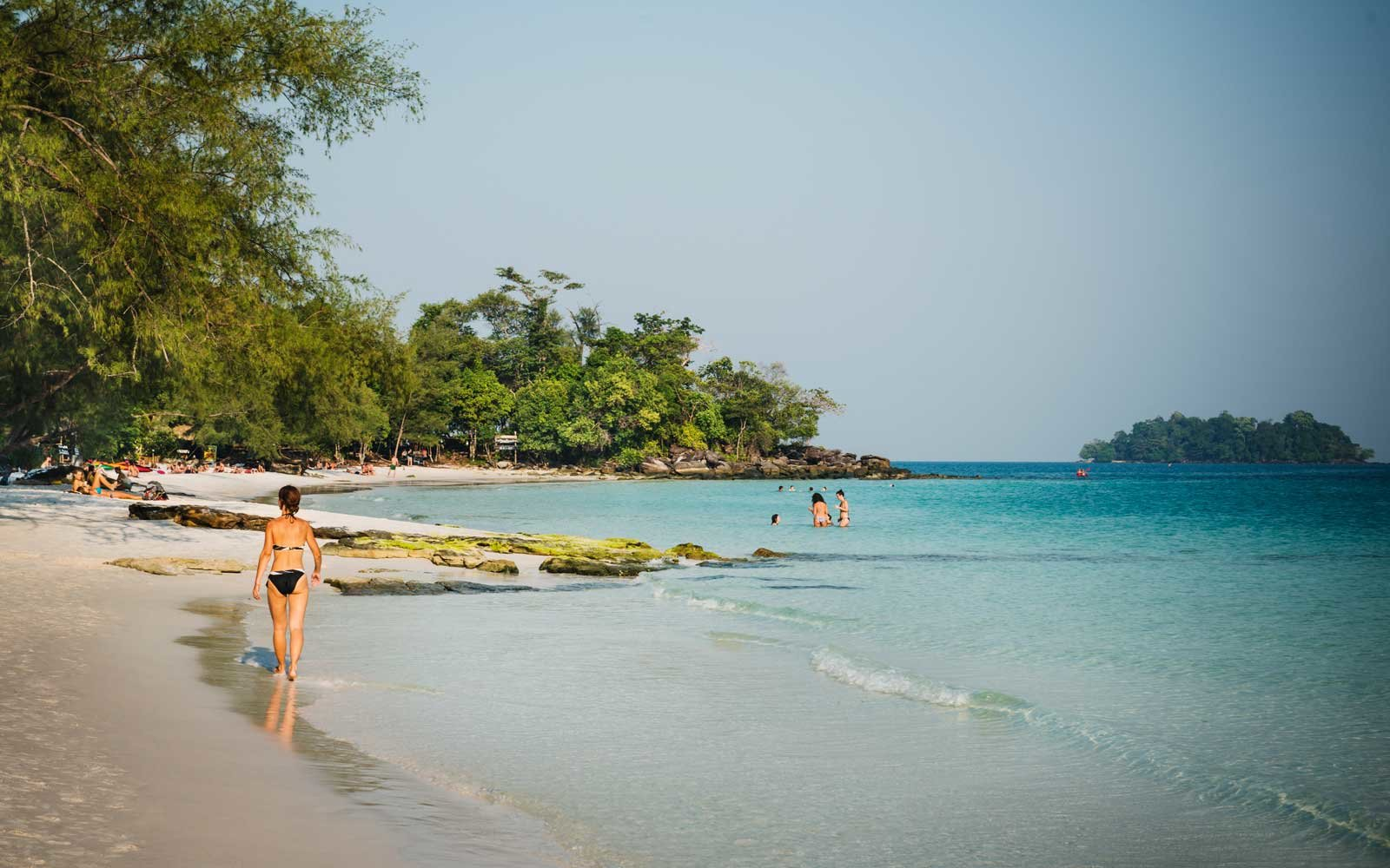 People at the beach in Koh Rong, Sihanoukville, Cambodia, Southeast Asia.