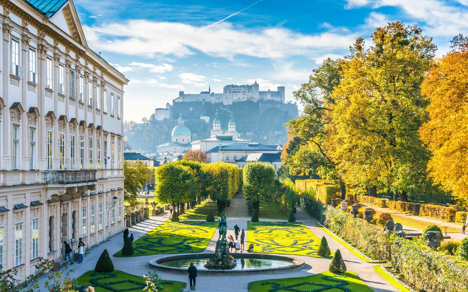 Famous Mirabell Gardens with historic Fortress in Salzburg, Austria