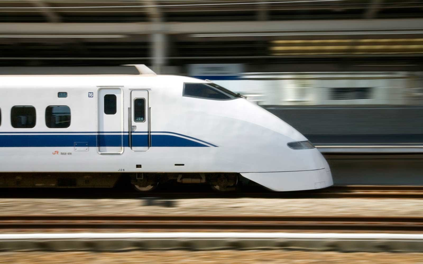 Japanese Bullet Train, Akashi, Hyogo Prefecture, Japan, Panning