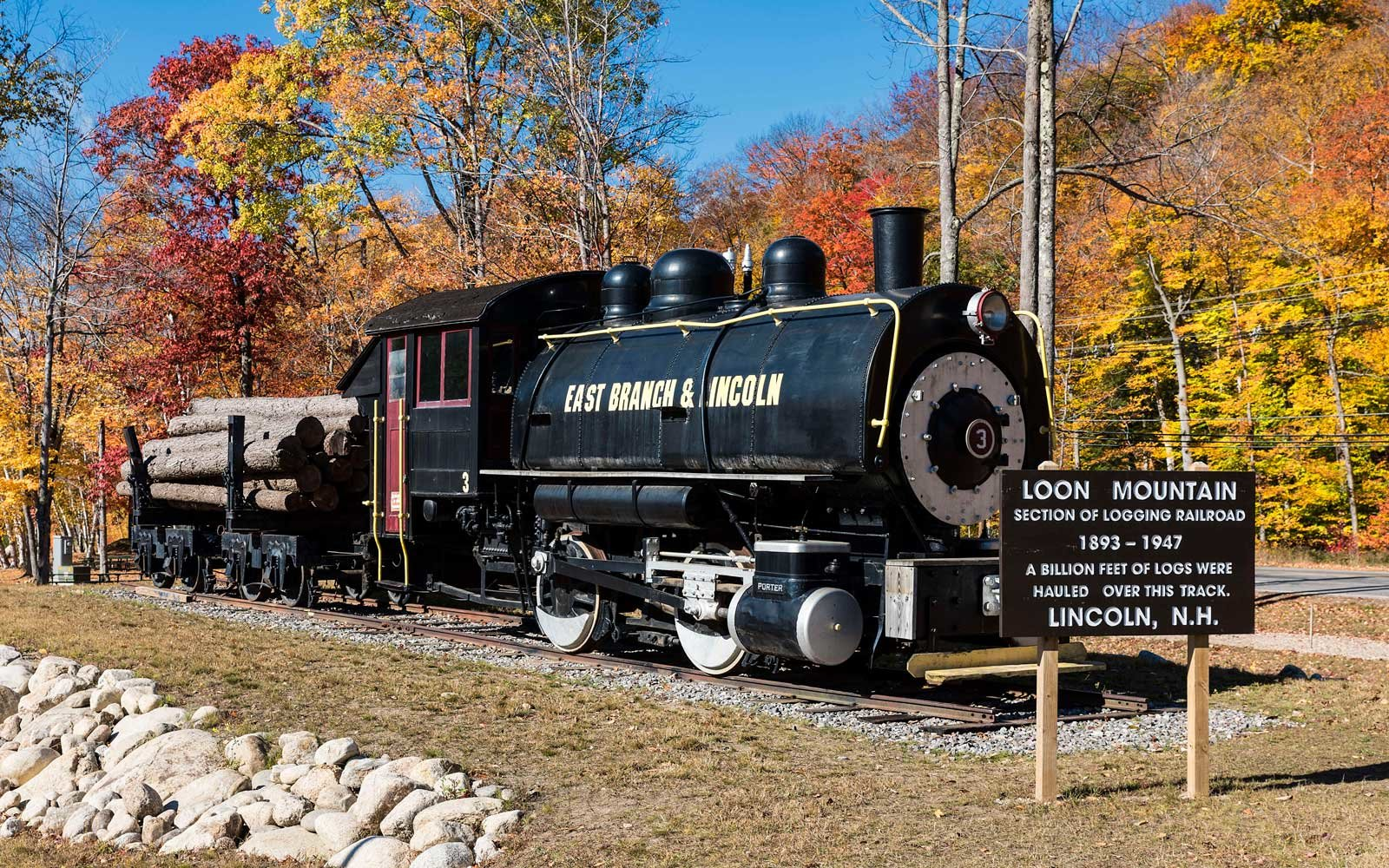 Historic logging train landmark at Loon Mountain, Lincoln, New Hampshire