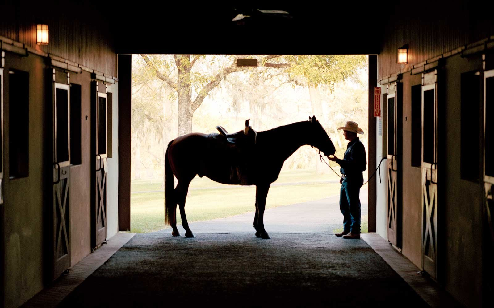 Inside the stables at Dos Brisas, in Texas