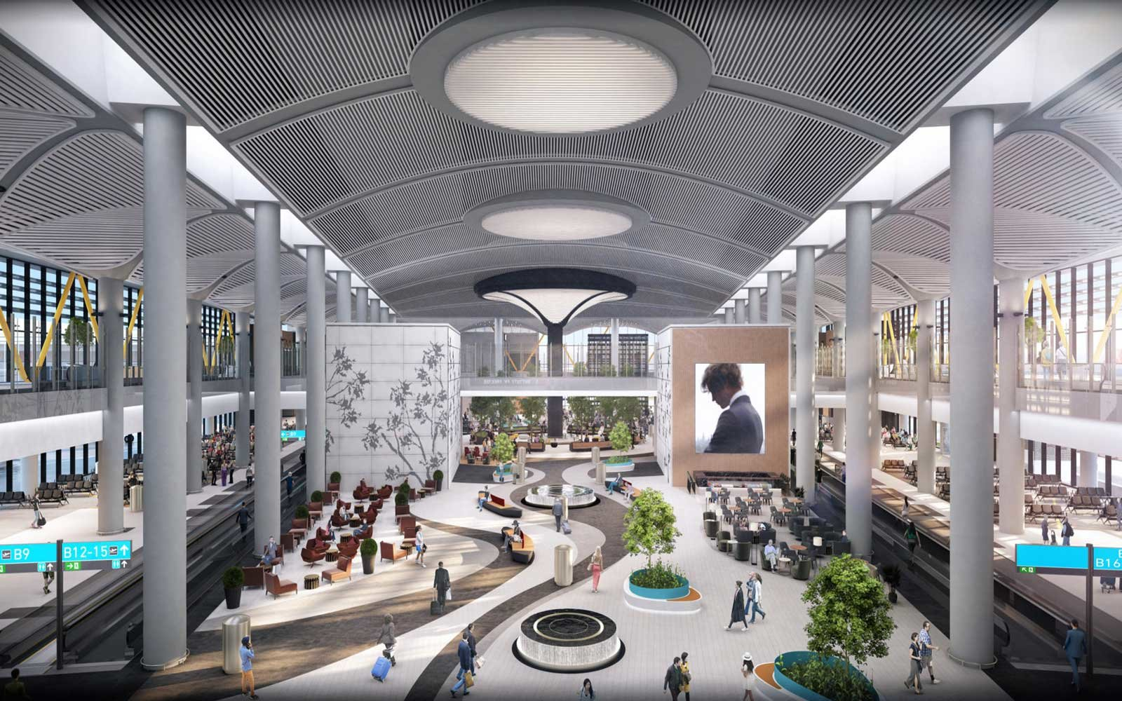 The airport's terminal spans a staggering 15.5. million square feet.