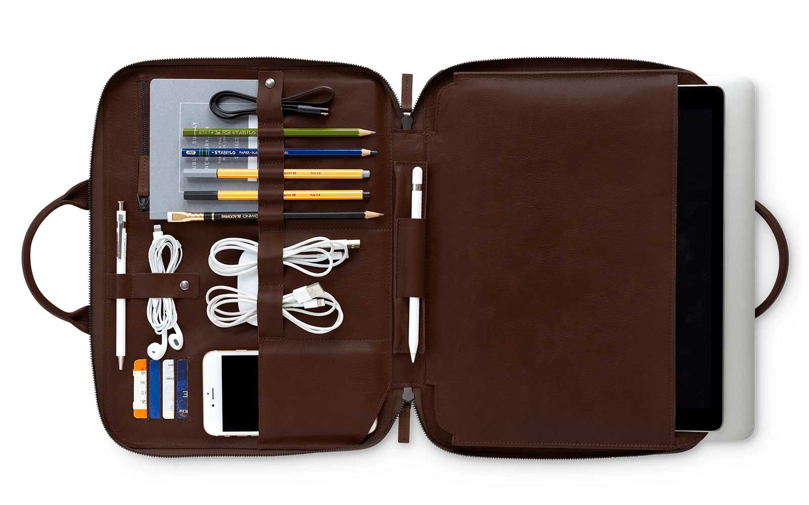 Leather laptop bag by This is Ground
