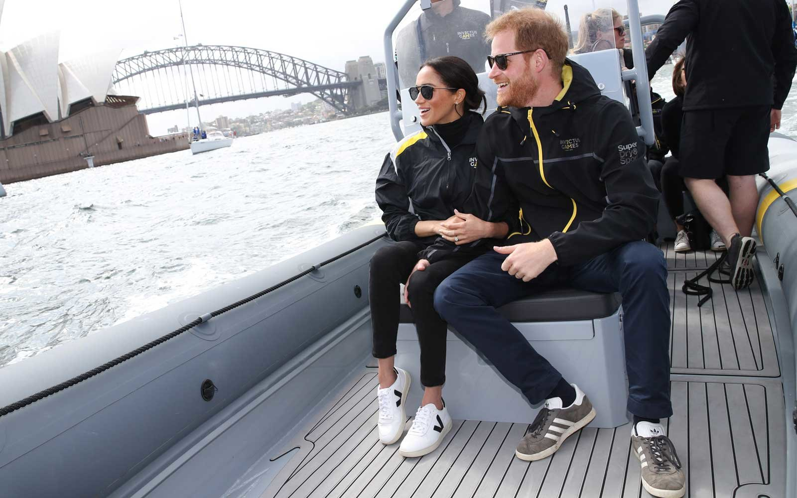 Meghan Markle and Prince Harry on a boat in Sydney, Australia
