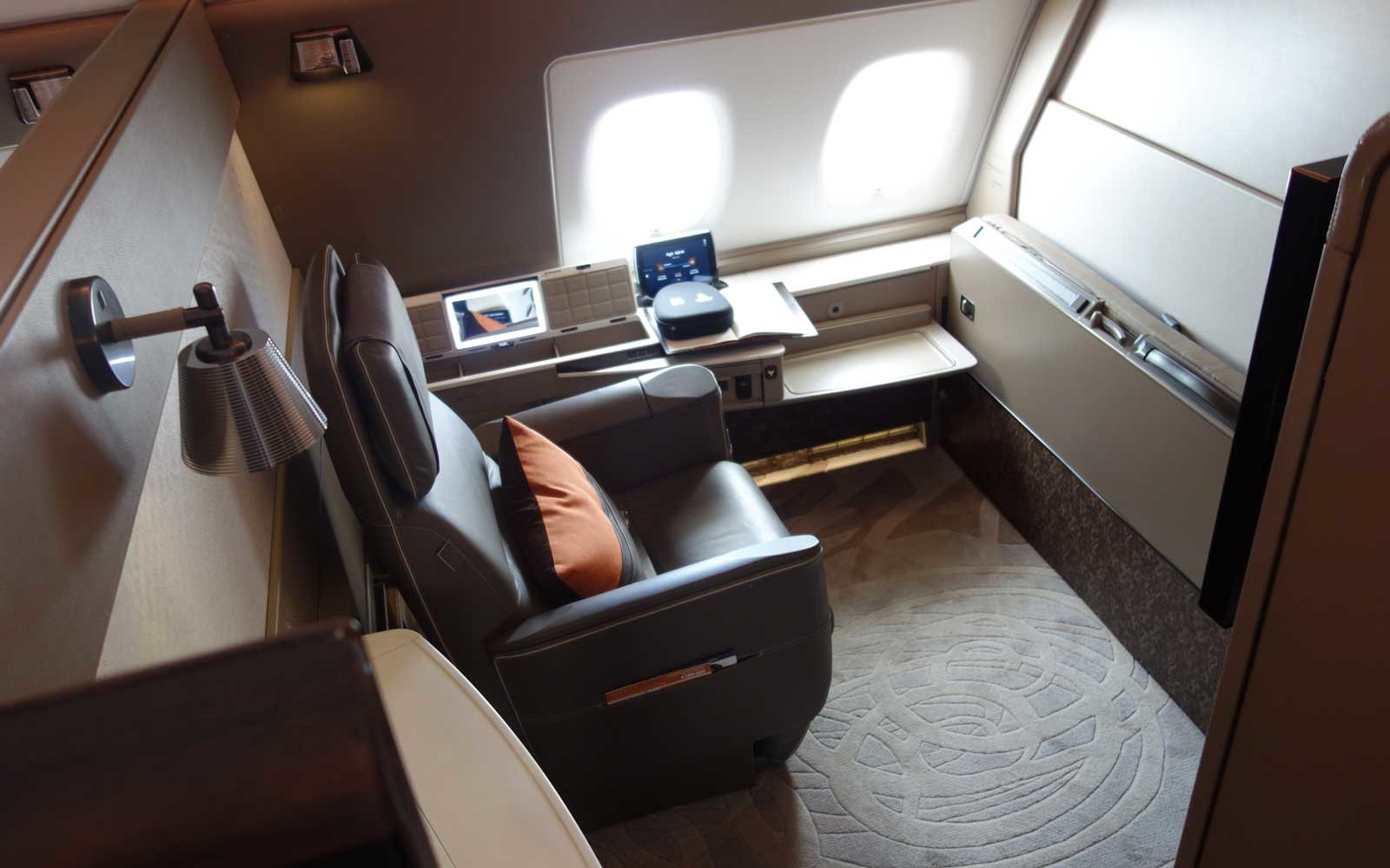 Overhead view of the Singapore Suite on board Singapore Airlines
