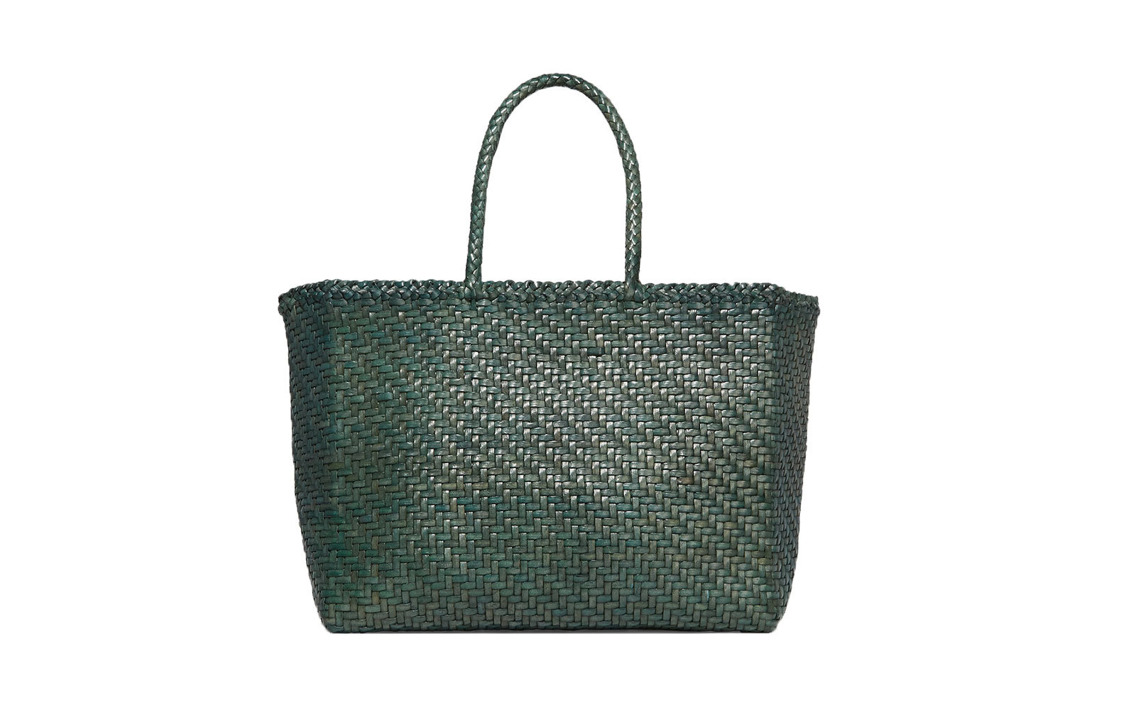 Dragon Diffusion Basket Big Woven Leather Tote in Blue-Green