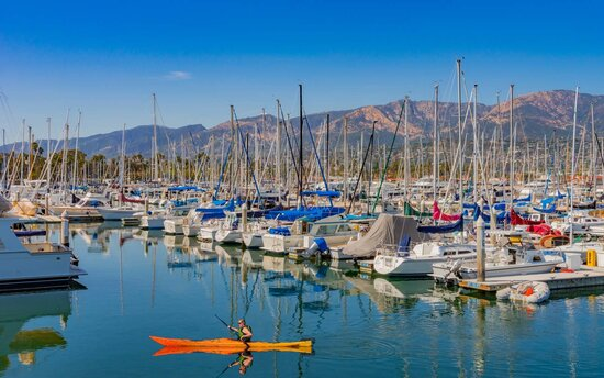 Santa Barbara Harbor filled with boats (P)