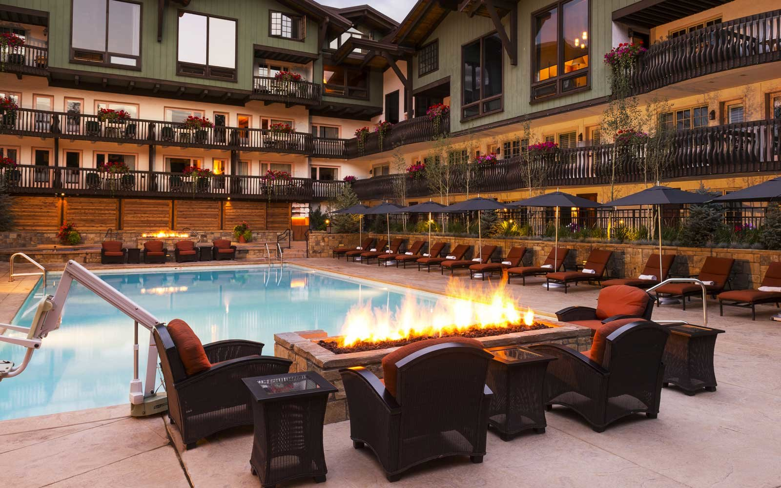 Pool and fire pit at the Lodge at Vail