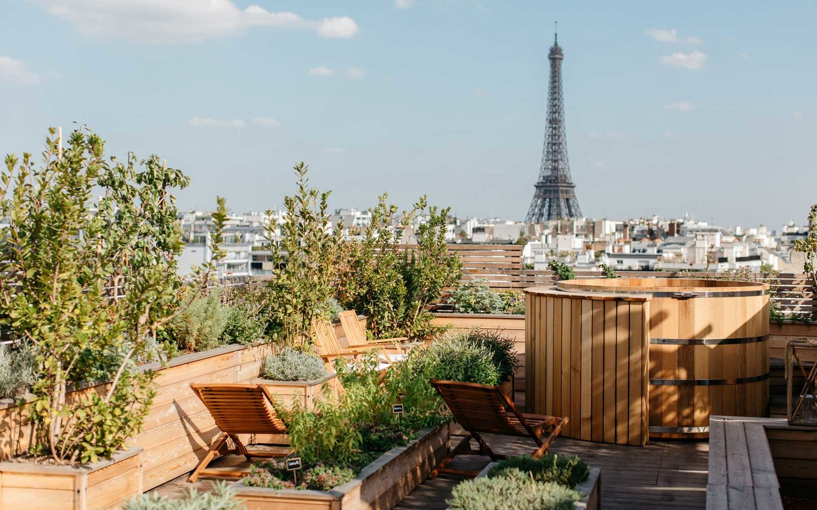 View from the terrace at the Brach Hotel in Paris, France