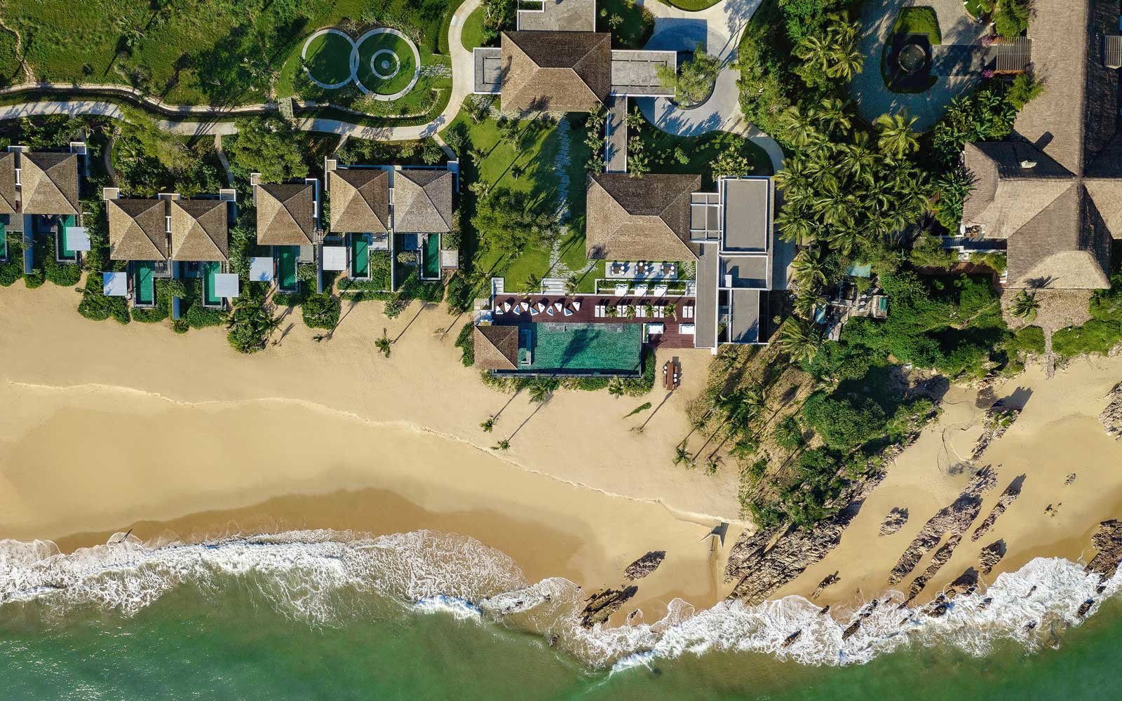 Aerial view of the beach at the Anantara Quy Nhon Villas in Vietnam