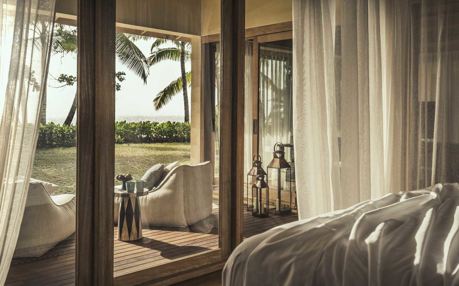 View from a room at the Four Seasons Resort Desroches Island in the Seychelles