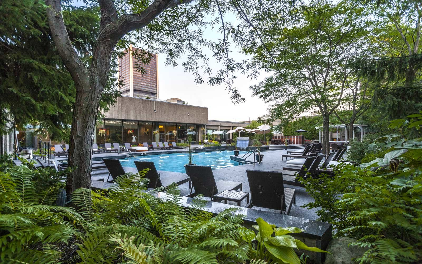 View of the pool at the Hotel Bonaventure in Montreal, Canada