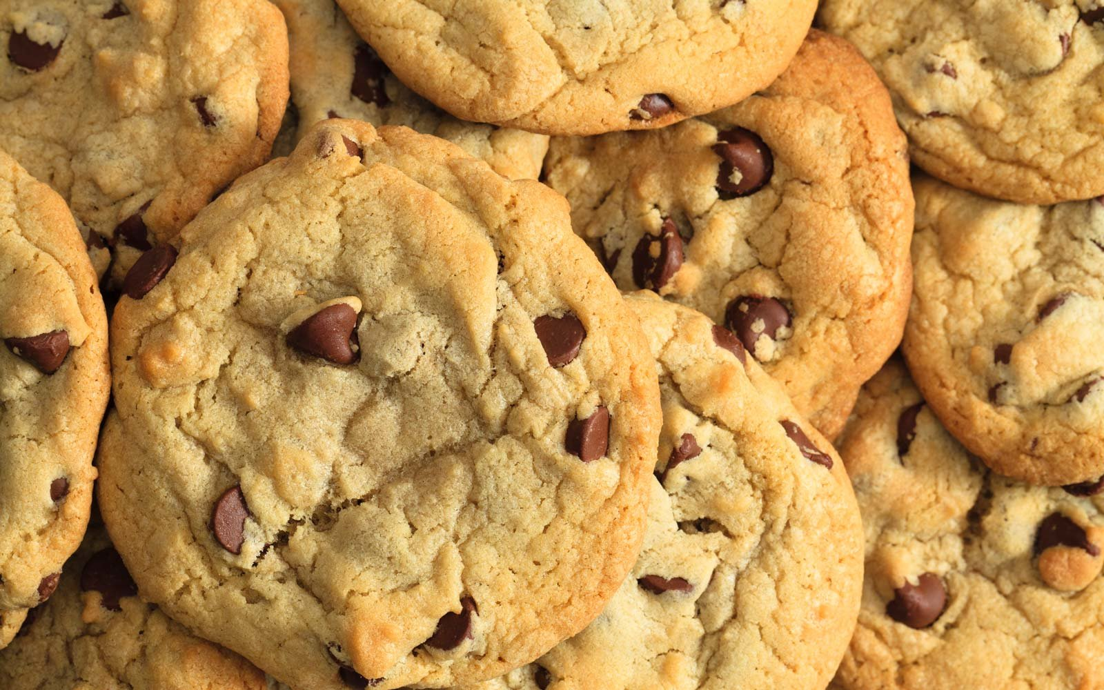 Chocolate chip cookies fill the frame