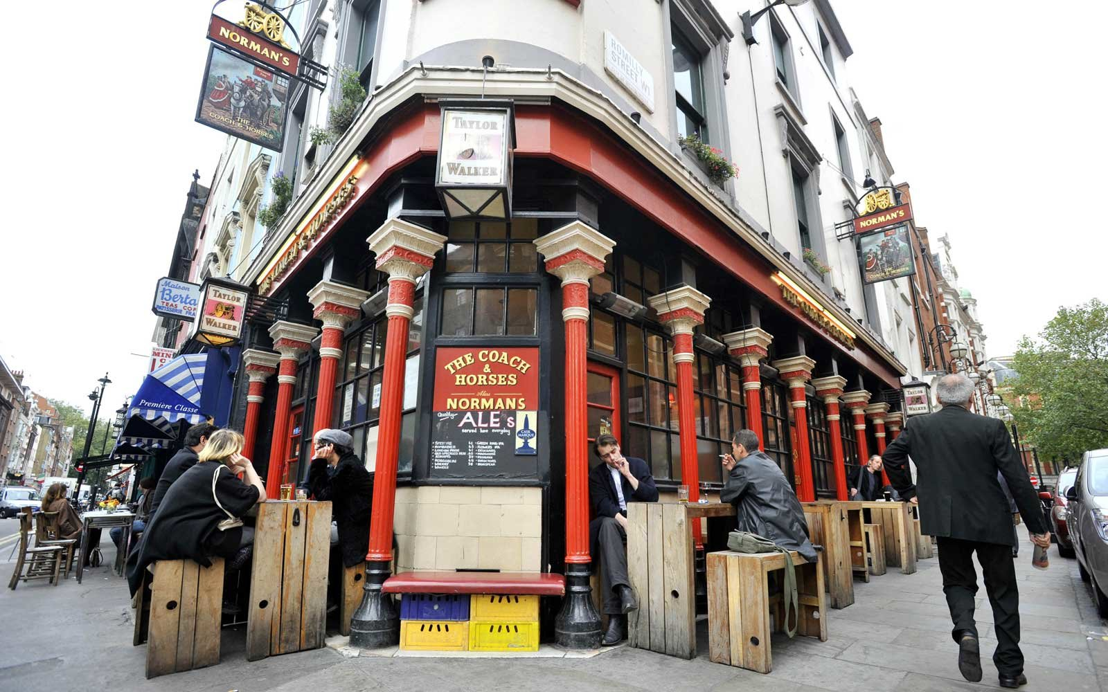 General view of the Coach and Horses pub on Greek Street in London's Soho