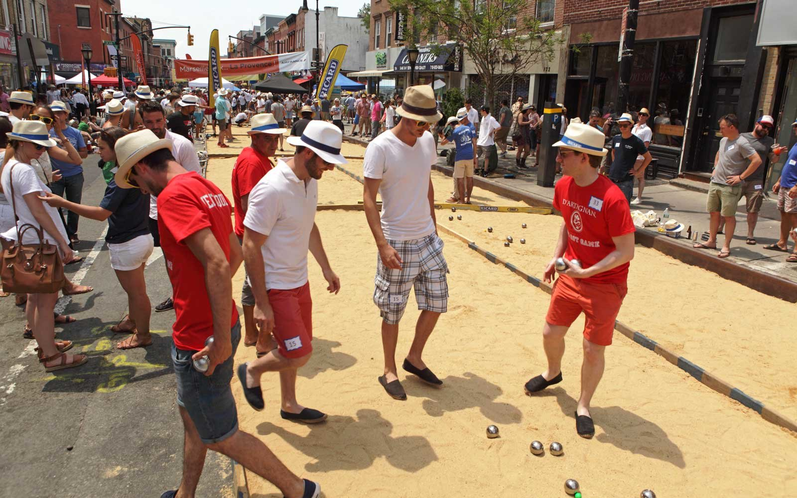 Petanque on Smith Street in Brooklyn during Bastille Day celebrations