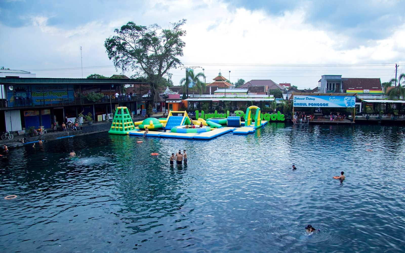 Klaten, Indonesia - January 31, 2019 umbul Ponggok is a water tourism or swimming pool located in Ponggok village, Klaten, Central Java