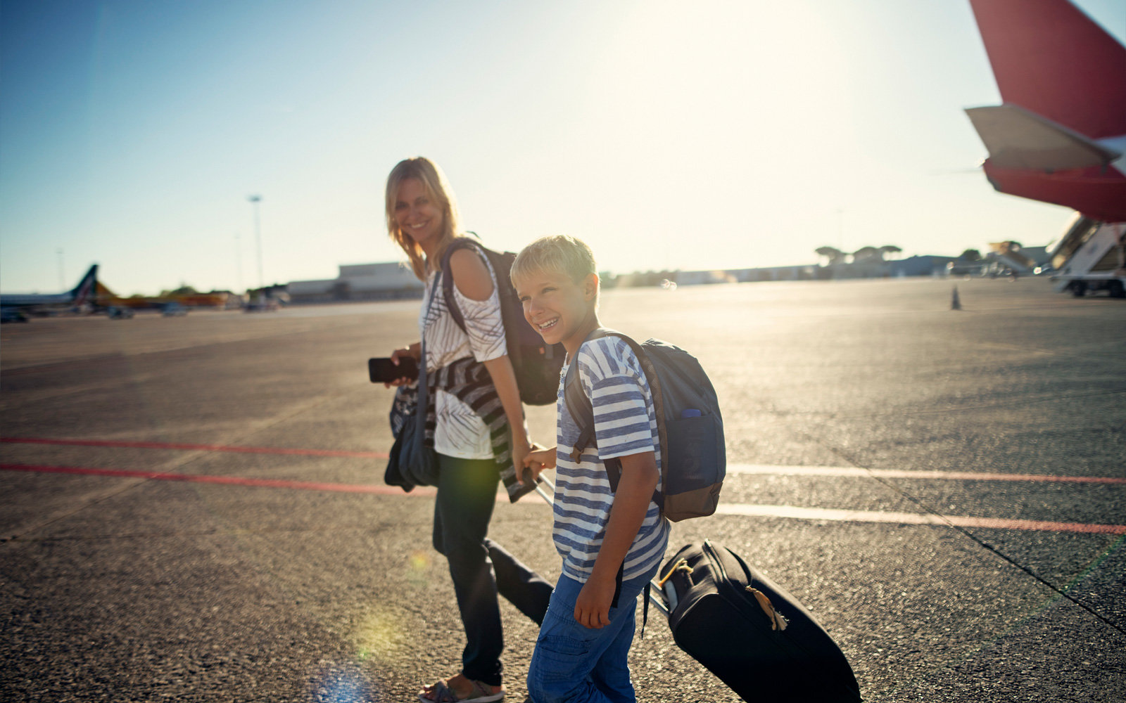 Mother and son travel