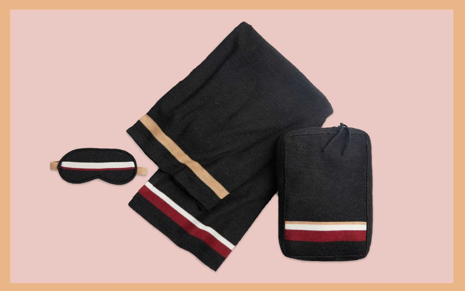 Black, Red, and Gold Merino Wool Travel Blanket and Eye Mask