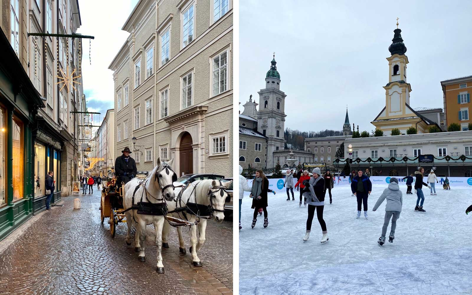 A street with a horse drawn carriage and people ice skating Salzburg, Austria
