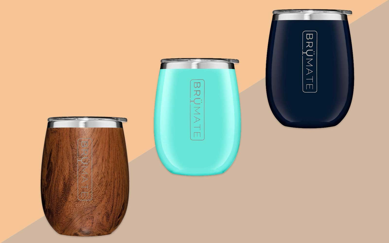 Wood, Turquoise, and Navy Reusable Wine Tumblers