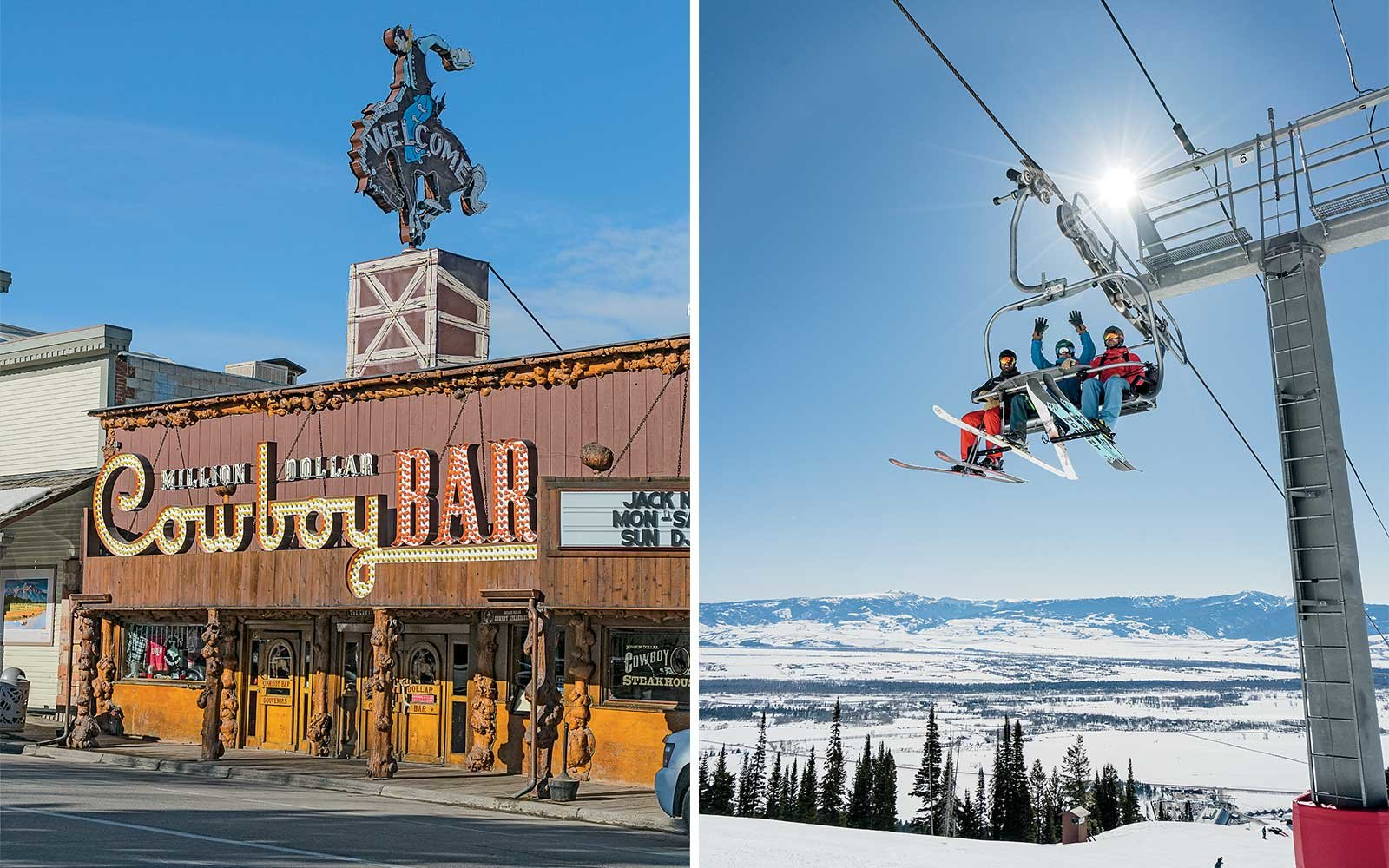 View of a ski lift and the famous Million Dollar Cowboy Bar, in Jackson