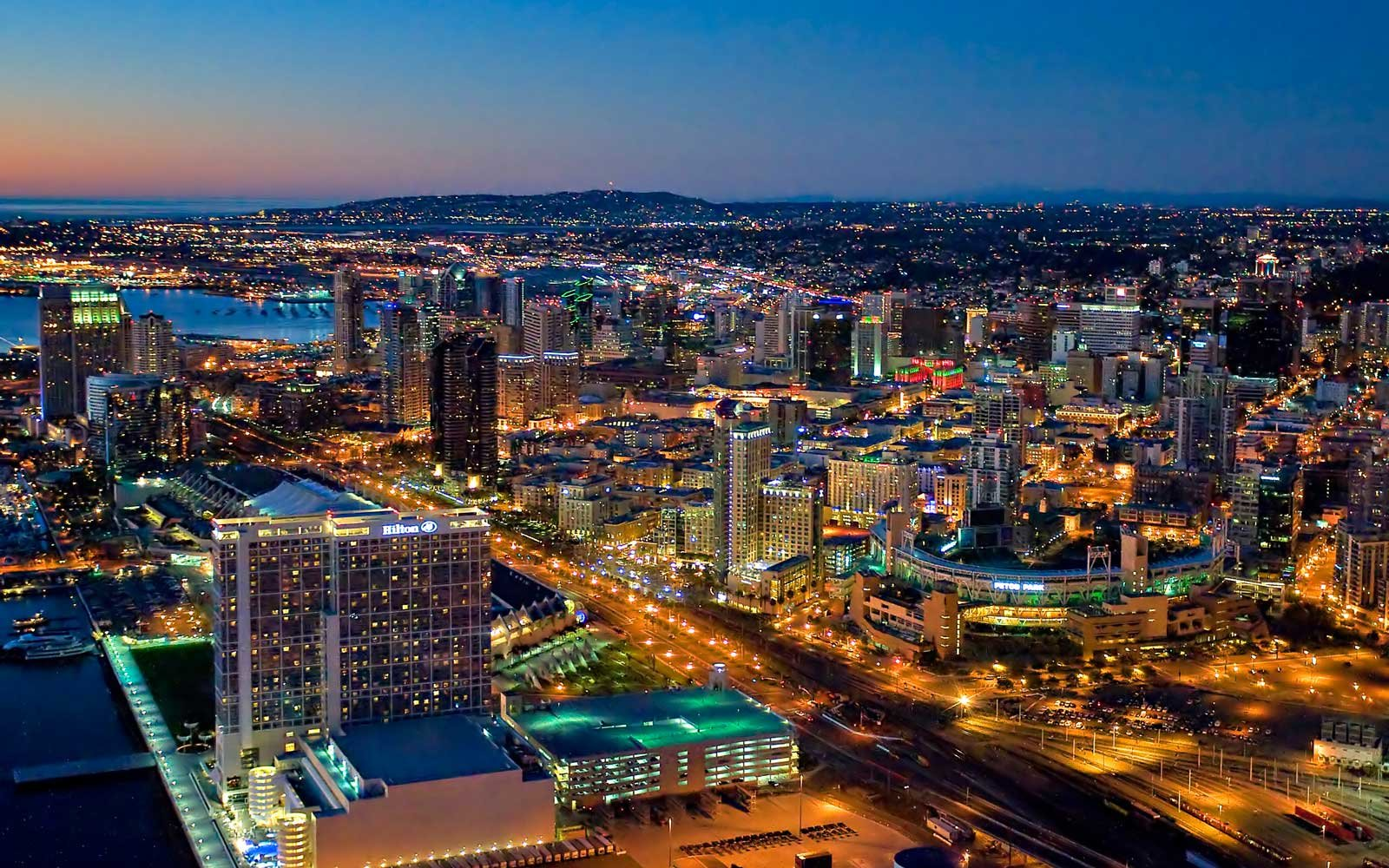 San Diego downtown area seen at nighttime