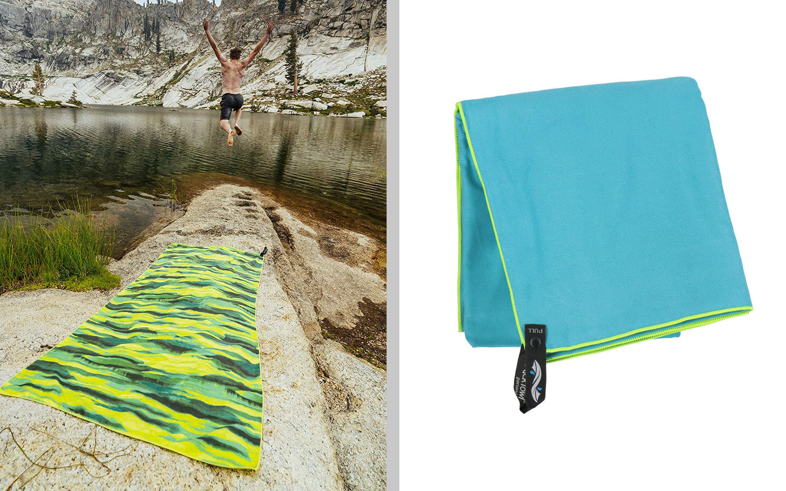 Blue, Yellow, and Green Travel Towel