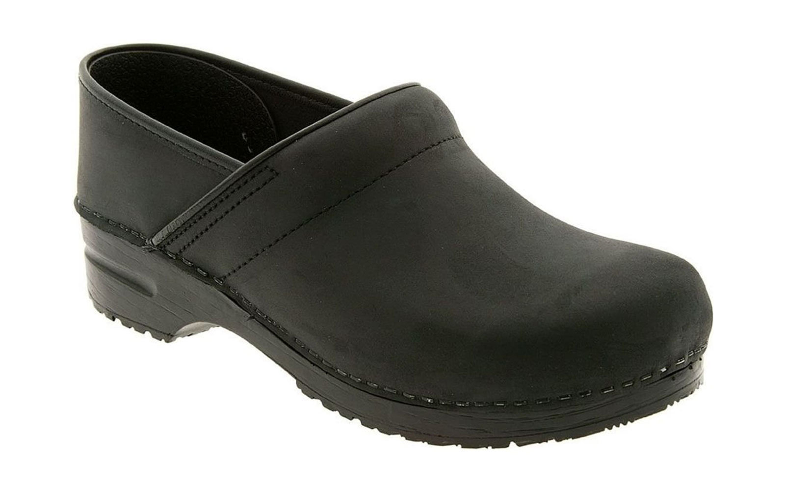 Black Leather Clog