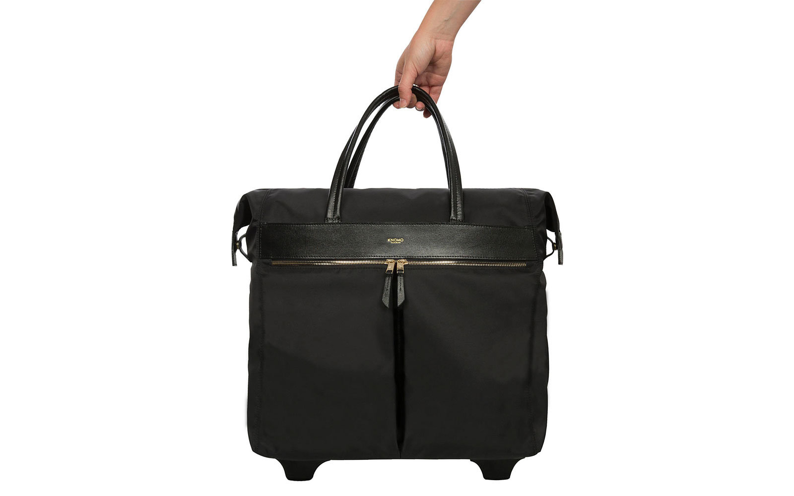 Black Nylon and Leather Tote