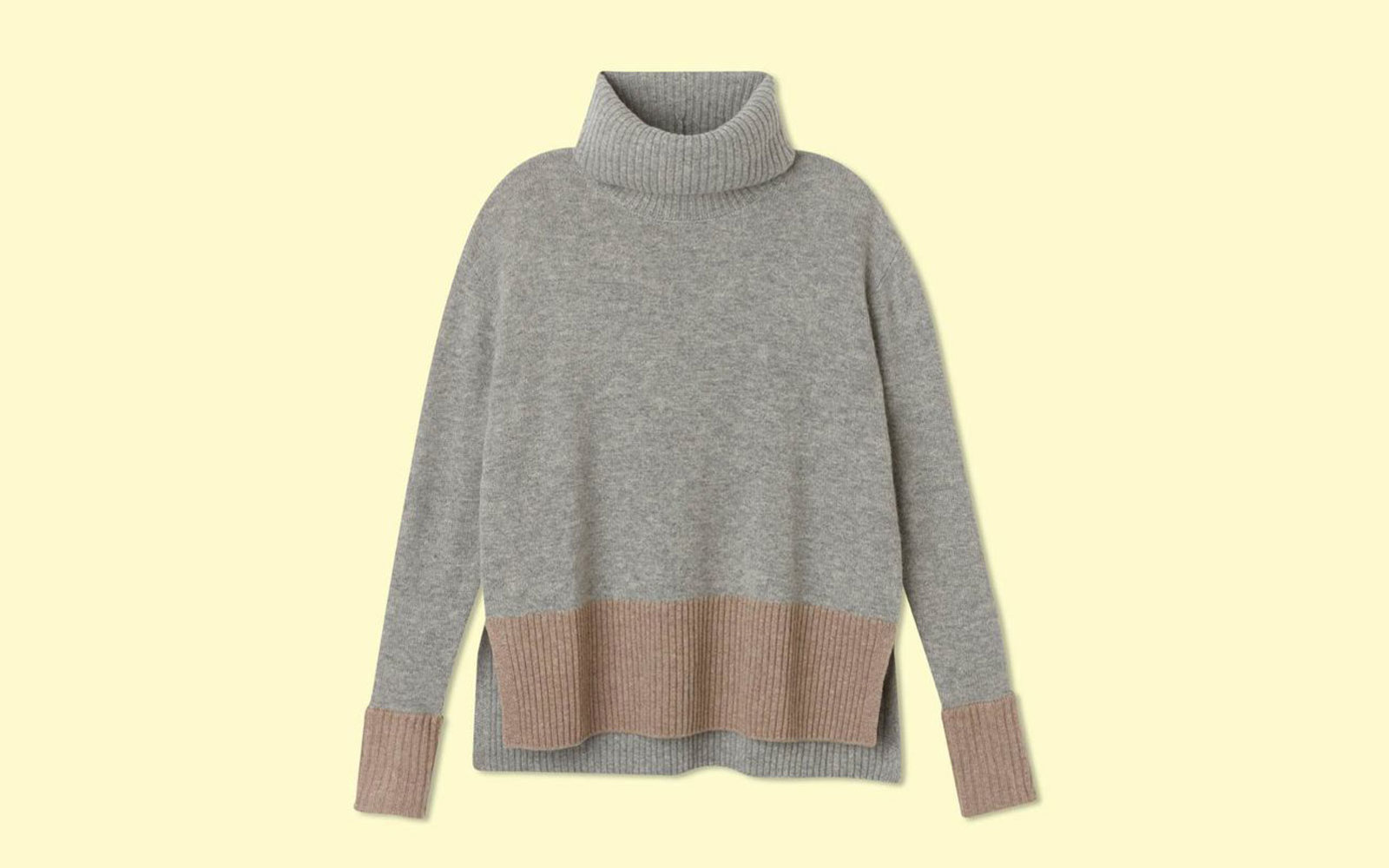 Grey and Camel Cashmere Turtleneck