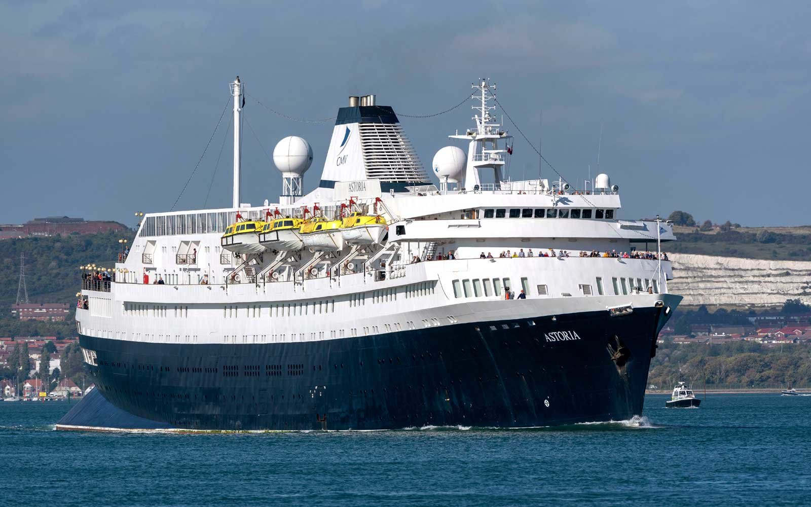MV Astoria departing Portsmouth England UK. Came into service in 1946 and is the second oldest cruise ship in service.