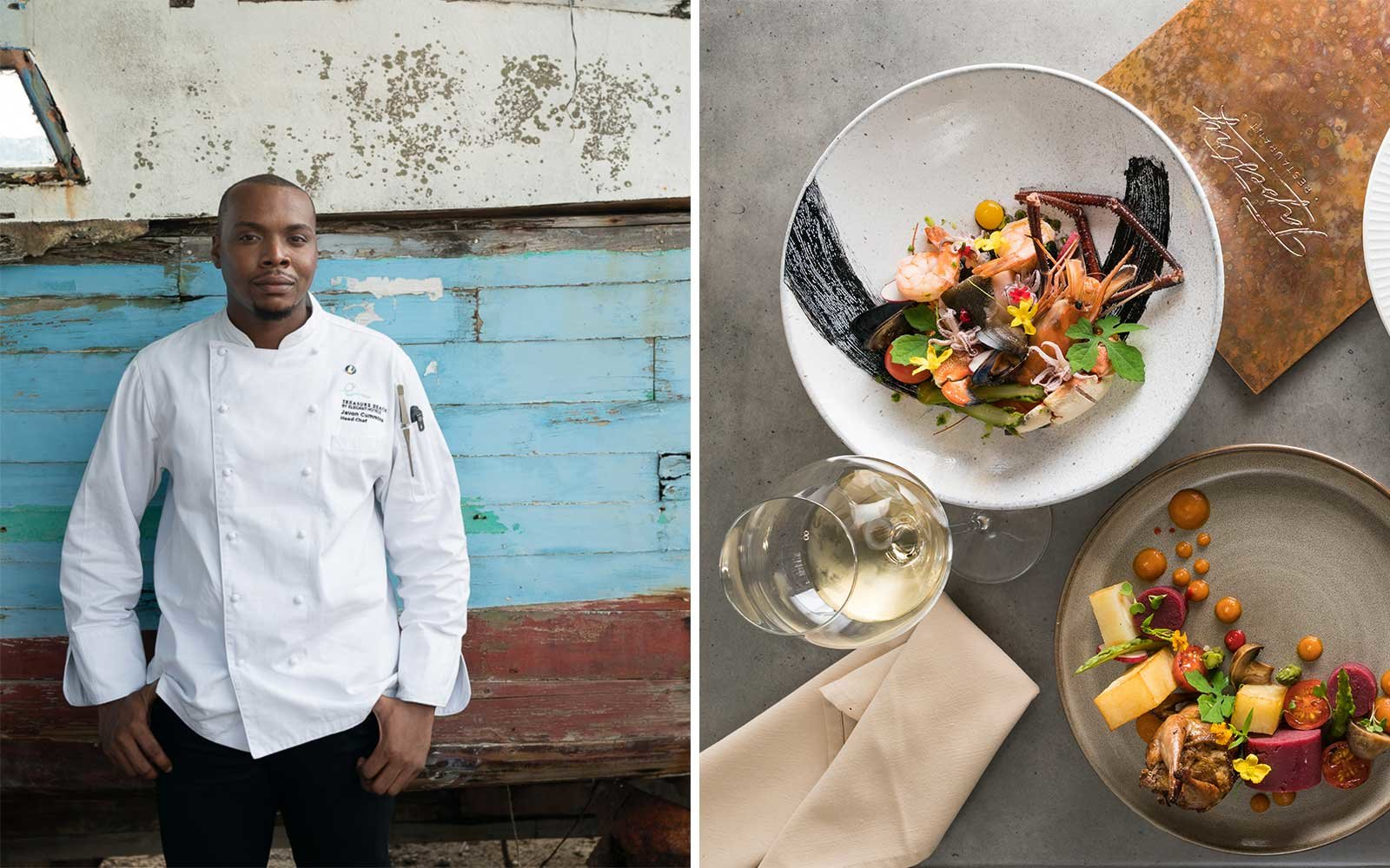 Chef Javon Cummins and colorful dishes from his restaurant Tapestry, in Barbados