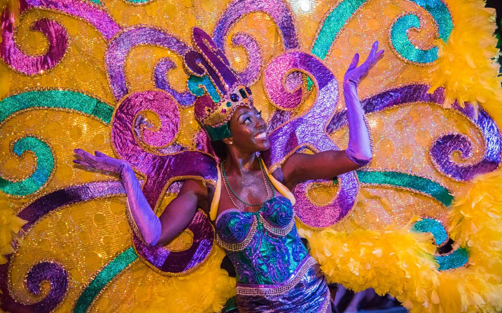 Woman in costume at Mardi Gras celebration at Universal Orlando