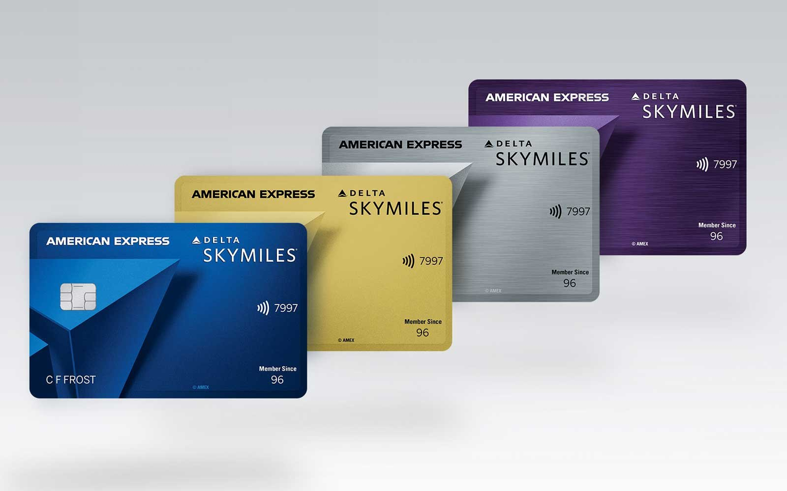 Four levels of American Express Delta Sky Miles Consumer Credit Cards (Blue, Gold, Silver, Purple)